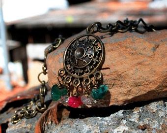 Brass & Gemstone Necklace