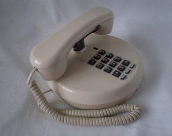 SALE Vintage  Space Age Round Pancake Telephone