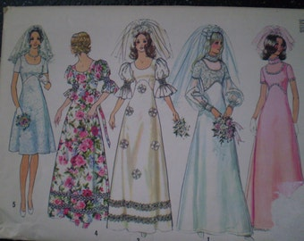 Vintage 1972 Simplicity Pattern 5462 Wedding Dress in Two Lengths or Bridesmaid Dress, Size 12