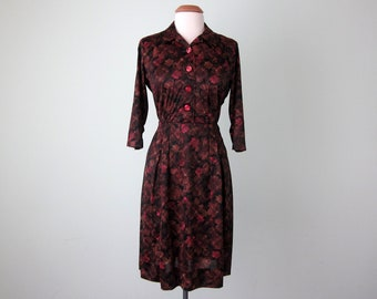 60s dress / brown pink floral print mid century fitted waist pleated (m - l)