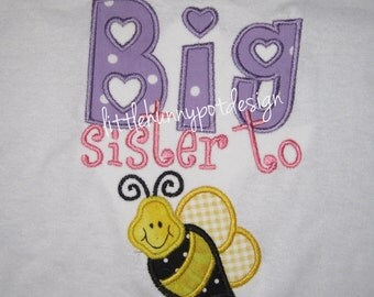 Boutique Custom Personalized Big Sister To Be Girls Shirt