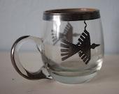 Small Glass Mug with Silver Thunderbird Design