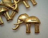 4 large brass stylized elephant charms
