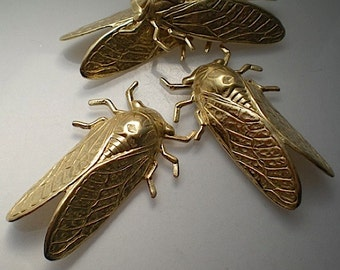 4 large brass cicada charms