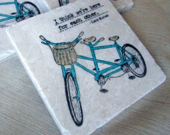 Tandem Bike Drink Coasters - Bicycle Home Decor - Decorative Tiles