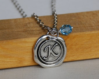 Initial Necklace with Birthstone, Wax seal, Personalized Necklace