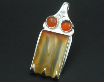 Oregon Carnelian Agate Recycled Sterling Silver Fork Pendant