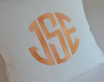 monogram embroidered custom pillow peach monogram white cotton twill linen sunbrella boat indoor outdoor