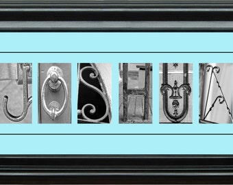 Personalized Name, Baby, Pink/Blue Architectural Letter Art