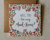 Will You Be My Maid of Honor Floral Calligraphy Card