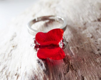 Red butterfly ring. Red crystal ring. Cherry red ring. Bright red ring. Butterfly jewelry. Blood red ring. Ruby red ring. Nature jewelry.