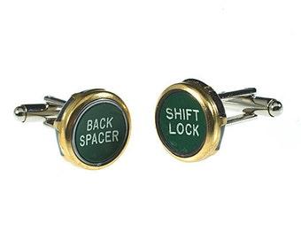 Vintage Typewriter Key Cufflinks - Green Shift Lock & Back Spacer Set