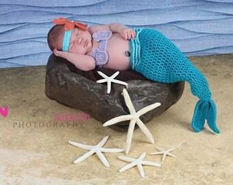 Newborn Baby Girl Mermaid Costume, 0 to 3 Month Mermaid Tail Photo Prop Set