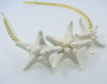 Starfish Headband - Crystal and Pearl Star Gold Starfish Rhinestone Headband