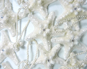 Starfish  Wedding Favor Ornament - Glitter Crystal Star