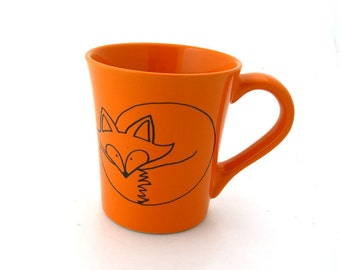 Fox Mug,  Orange can be personalized, large ceramic mug 16 oz, kiln fired, custom mug