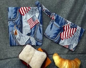 Reusable Sandwich N Snack Bag Set,  Patriotic Blue Jeans Print
