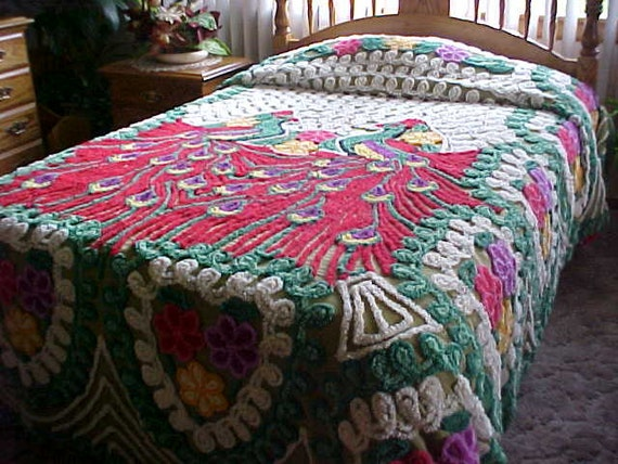 Red Peacock Chenille Bedspread With Green Hearts And Colorful