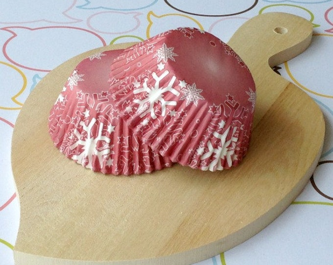 Snow Flakes Red Cupcake Liners