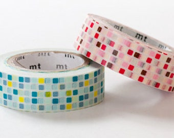 mt Washi Masking Tape - Pink & Green Tiles - Set 2
