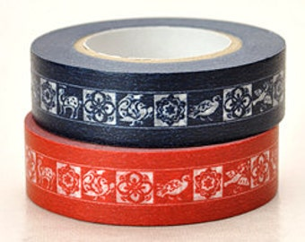 Japanese Washi Masking Tape - Animals & Flowers - Set 2