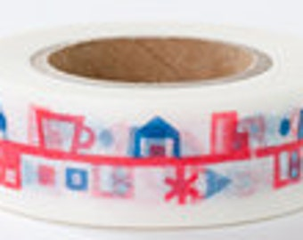 Japanese Washi Masking Tape - Town Houses - Yamada - 18mm wide