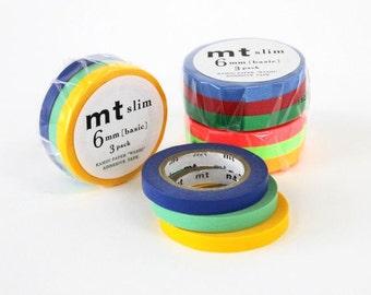 mt Washi Masking Tape - 6mm Slim - Set 3
