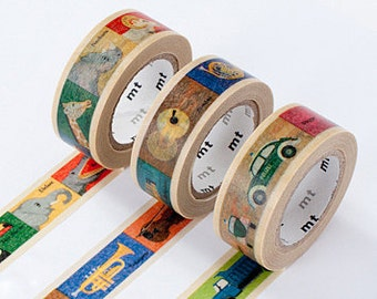 mt Washi Masking Tape - Animals, Instruments or Transport - Kids