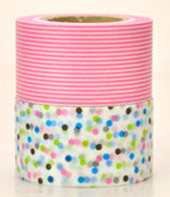mt Washi Masking Tape - Confetti Dots & Pink Stripes - Wide Set 2 - B