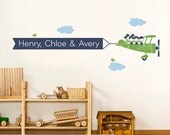 Airplane Wall Decal Triple Seat Personalized Name Message Banner Sibling Decor Boy Girl Triplets Baby Nursery Kids Playroom Wall Art