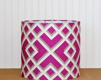 Geometric Drum Shade - Lamp Shade - Raspberry - Lampshade - Drum Shade - Pendant - Table Lamp Shade - Modern Lamp Shade - Plum - Grey