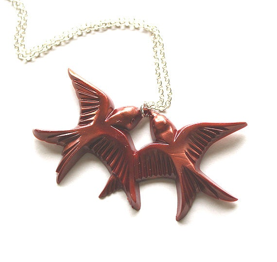Copper flying kissing resin swallow love birds silver necklace