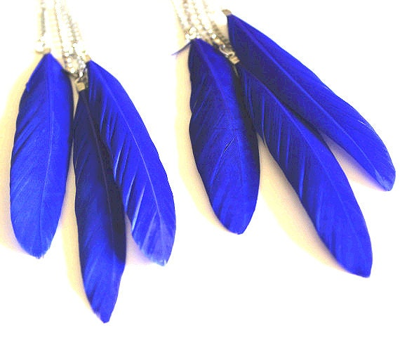 Feather earrings long cobalt blue on silver chain