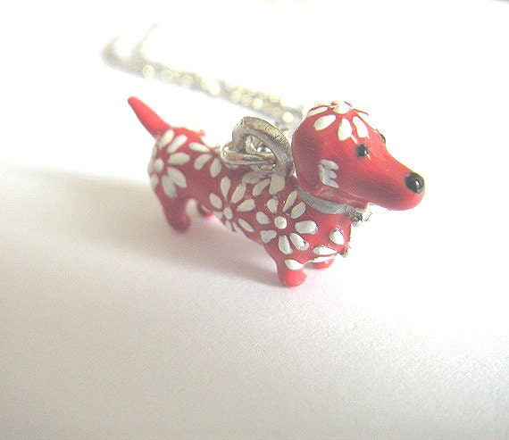 Red and white Dachshund jewelry sausage dog weiner charm silver necklace