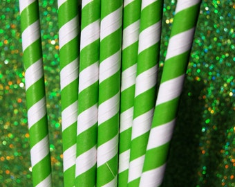 Jumbo Milkshake Green Striped Paper Straws and PDF Printable Party Flags (12)