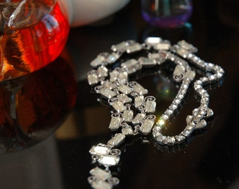 Vintage Bride Rhinestone Necklace, Fancy Links, Fancy Clasp, Ready to Go, Beautiful Condition