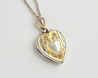 Sterling Heart Locket. Tritone. Bliss Brothers. Pink Silver Gold.