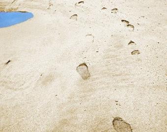 Beach Footprints Landscape Photograph - 10x8 - sea, seaside, sand, vacation, holiday, seashore
