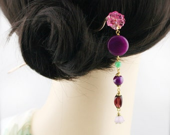 Violet blossom hair stick (HS) - Chinese jade