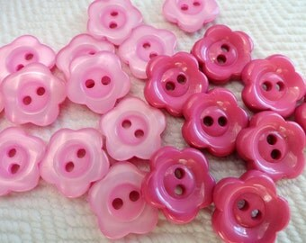 Pink Daisies Vintage Buttons - Your Choice 1/2 inch 13mm or 5/8 inch 15mm Flowers for Jewelry Beads Sewing Knitting Baby Doll Clothes