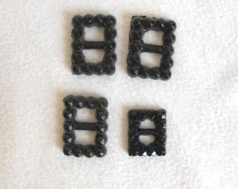Vintage Black Glass Buckles, set of 4
