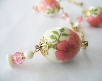 German Necklace Earrings Egg 1940's Pink Floral