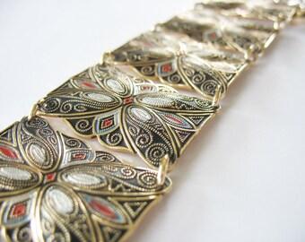 Aluminum Panel Bracelet Goldtone Eloxal Circa 1960 W Germany