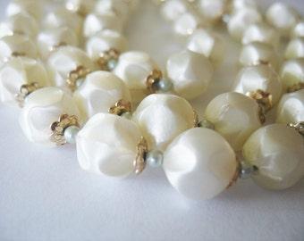 Pearl Necklace Triple Strand Baroque Cream Light Green 1950's Japan