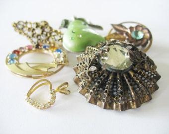 Vintage Brooch Lot Destash Catamore 12K GF Brass Rhinestones Dress Clip