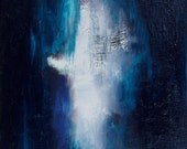 """Abstract oil painting, Indigo and Sapphire painting,oil on canvas, 10 x 10""""  Sapphire Angel, by Romany Steele"""