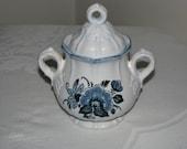 Vintage Metlox Poppytrail Colonial Garden Blue Floral Sugar Bowl With Lid Mint
