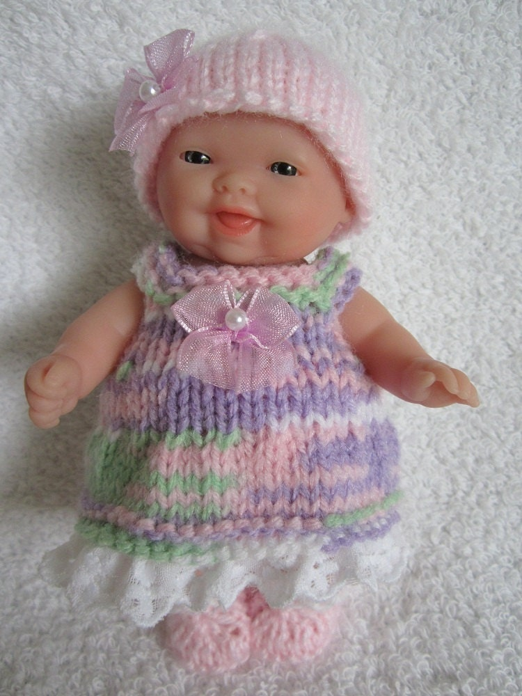 Knit Baby Doll Clothes Berenguer Springtime Lilac Mix Dress