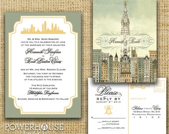 Philadelphia City Hall Wedding Invitation (optional Pocket fold)