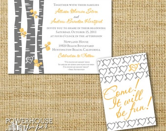 Carved Heart Tree Marigold Yellow Grey Wedding Invitation or Save the Date